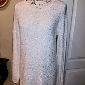 NWT Sequined Cream Calvin Klein Long Sweater